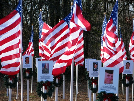 Arkansas Fallen Heroes Memorial Flag Field, Searcy, Arkansas, December 12, 2010.