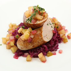Pork Sausage with Braised Purple Cabbage and Apple Chutney