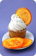 Orange Cupcakes with Candied Orange Garnish