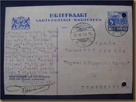 Kartu pos Kim Hok Batang Temanggung 19 okt 1934