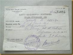 Kwitansi Padjak sepeda Gazelle 1956