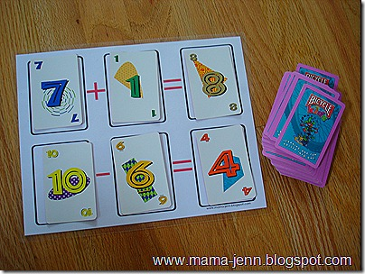 Addition/Subtraction Playing Card Game Board {Multiplication/Division too!}