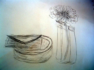 A drawing of a desk scene with a letter, small bowl, and a flower