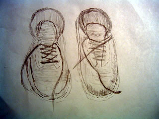 Sketch of an old pair of shoes