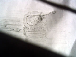 Sketch of a wooden mortar and pestle