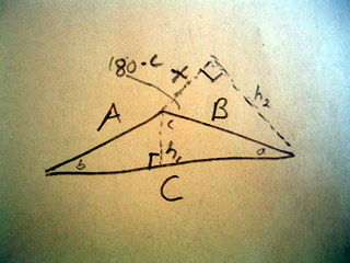 Sketch of a triangle to help prove the law of sines