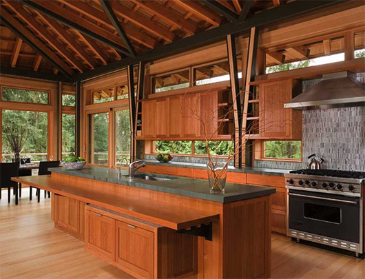 luxury wooden house interior kitchen design