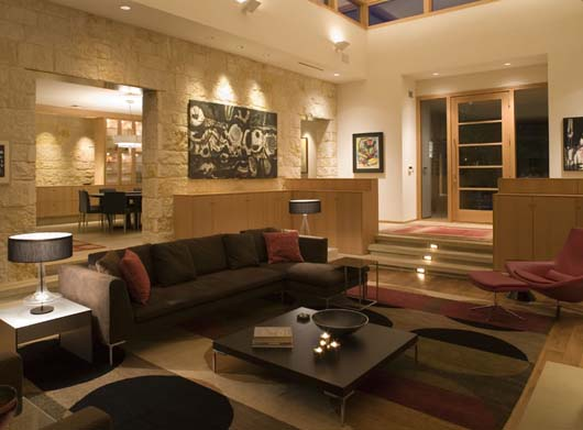 modern stone home design living room