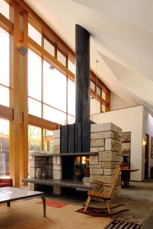 glass home decorating interior design fireplace