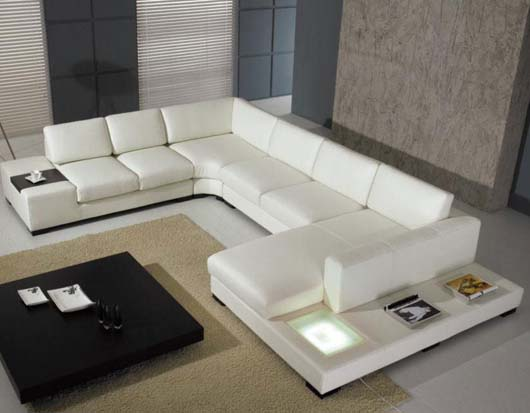 Modern White Leather Sofa Design Contemporary Living Room Furniture