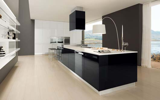glossy black and white luxury kitchen. This luxury kitchen designed with