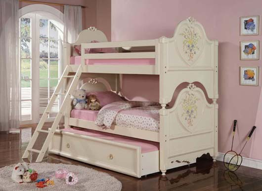 Pink Decoration Twin Bunk Beds Design Kids Bedroom Furniture