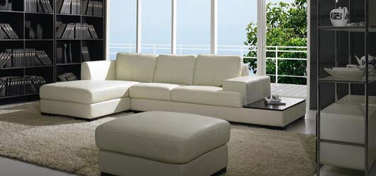 Contemporary White Leather Sofa Design With Ottoman Included