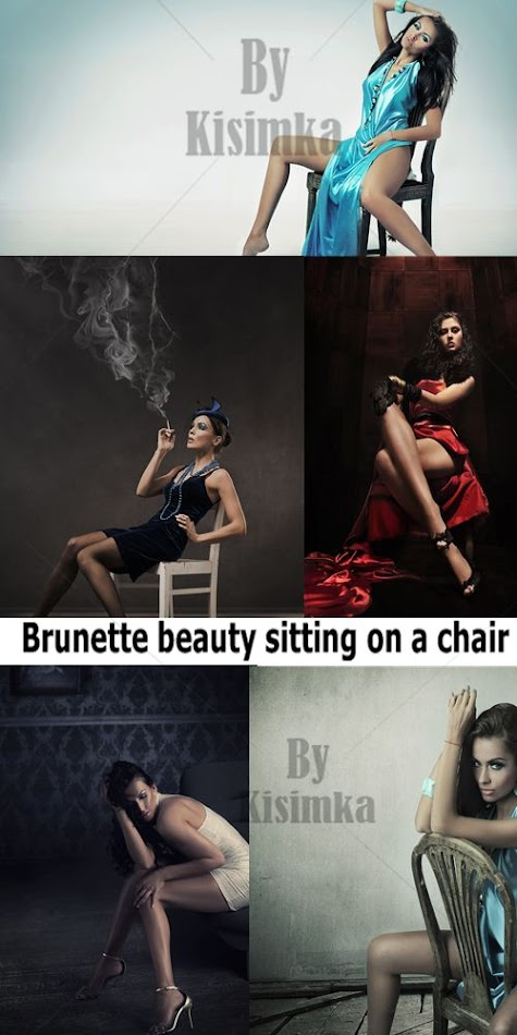 Stock Photo:Brunette beauty sitting on a chair