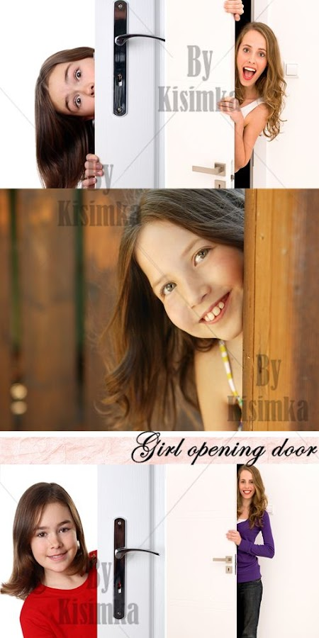 Stock Photo: Girl opening door