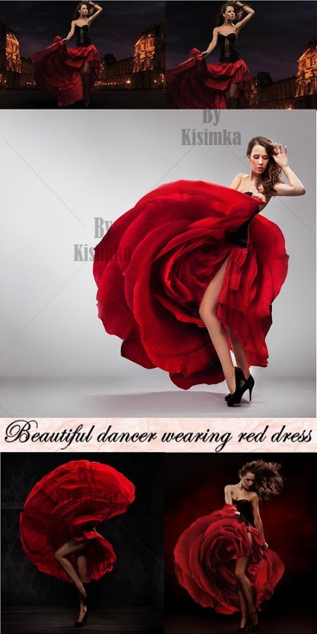 Stock Photo: Beautiful dancer wearing red dress