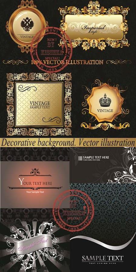 Stock: Decorative vintage background. Vector illustration.