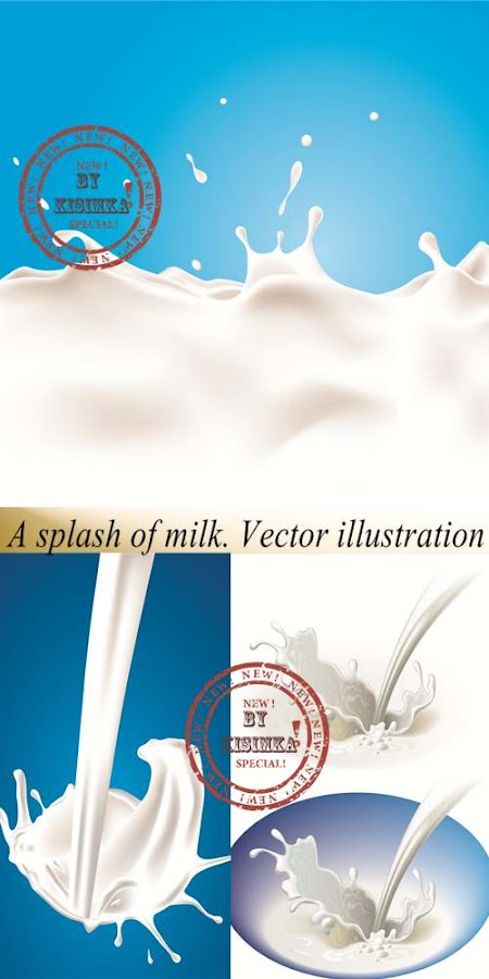 Stock: A splash of milk. Vector illustration