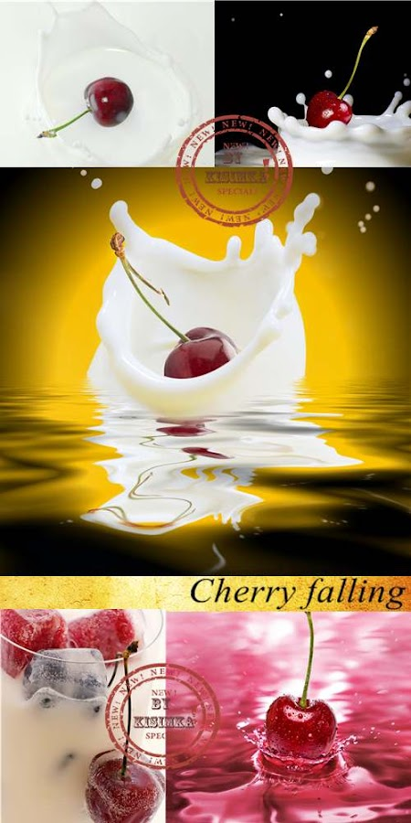 Stock Photo: Cherry falling