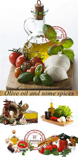 Stock Photo: Olive oil and some spices