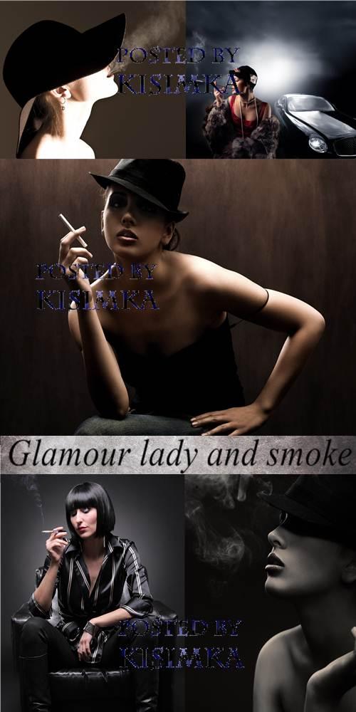 Stock Photo: Glamour lady and smoke