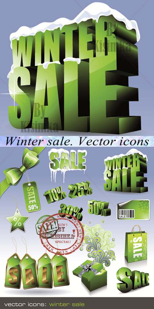Stock: Winter sale. Vector icons