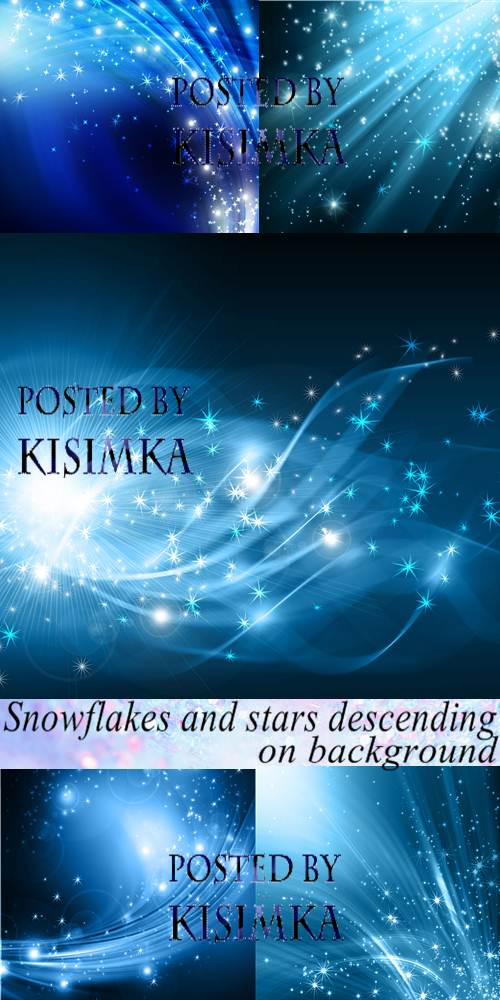 Stock Photo: Snowflakes and stars descending on background