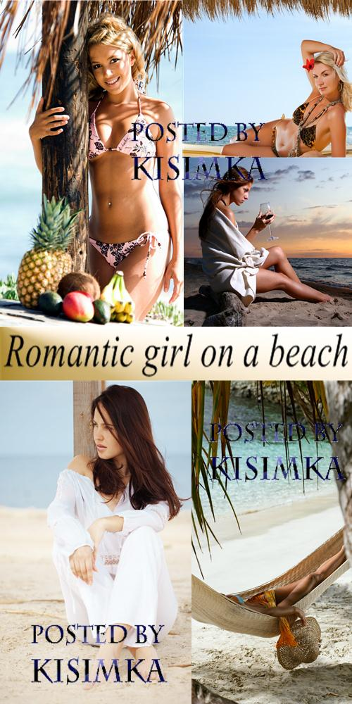 Stock Photo: Romantic girl on a beach