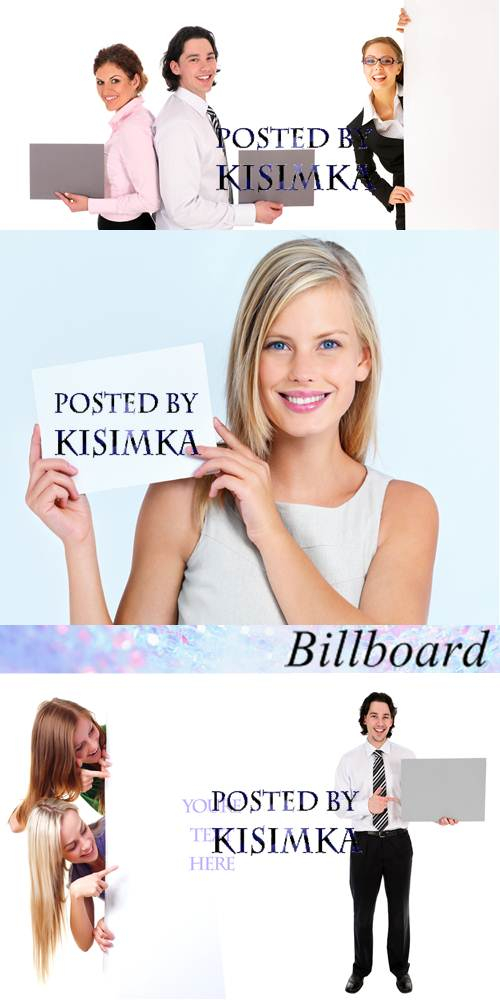 Stock Photo: People and billboard