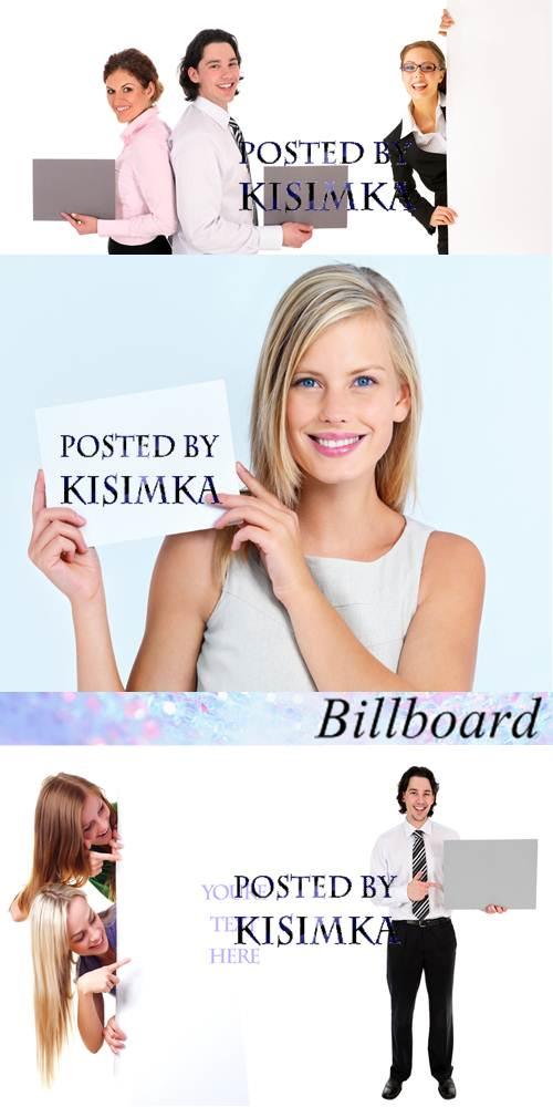 Stock Photo: People and billboard