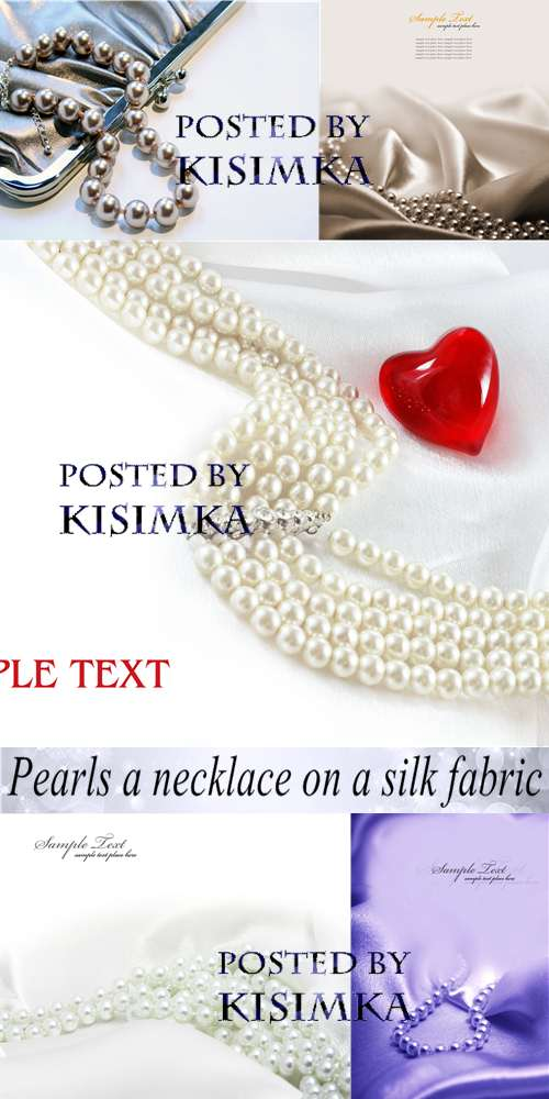 Stock Photo: Pearls a necklace on a silk fabric