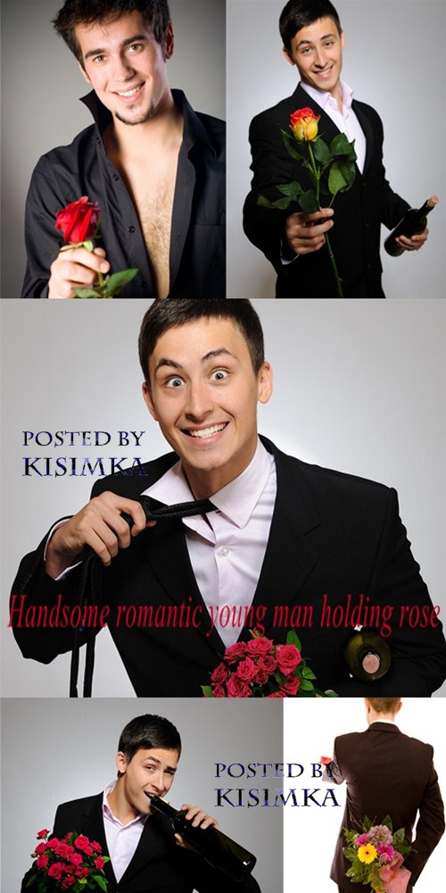 Stock Photo: Handsome romantic young man holding rose