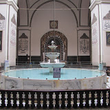 interior, fountain in second bay of center aisle