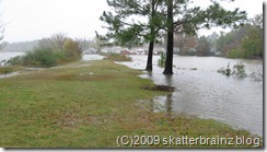 Lake Windsor over the roadway and park knoll