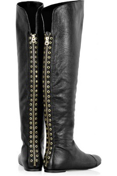 marc by marc jacobs - Eyelet-embellished flat leather boots - 550