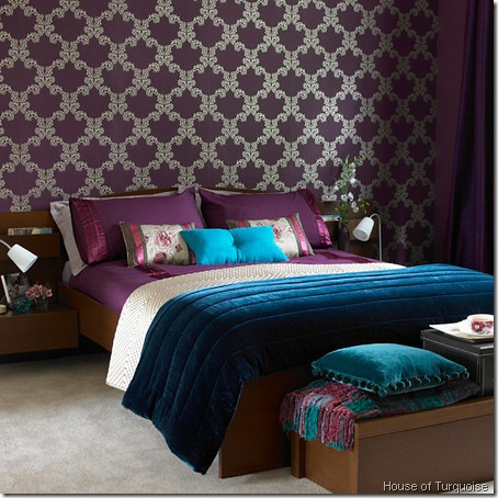 bedroom house of turquoise. DesignTies  Did someone say purple and turquoise
