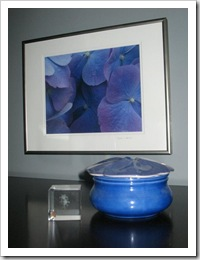 purple art above table