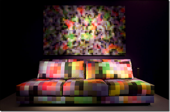 pixel sofa and art