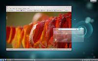 Escritorio KDE Plasma, Gwenview y KRunner en versión 4.6