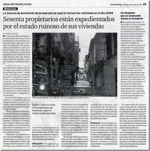 """Recorte do xornal """"El Ideal Gallego"""" correspondente ao domingo 24 de xaneiro de 2010"""