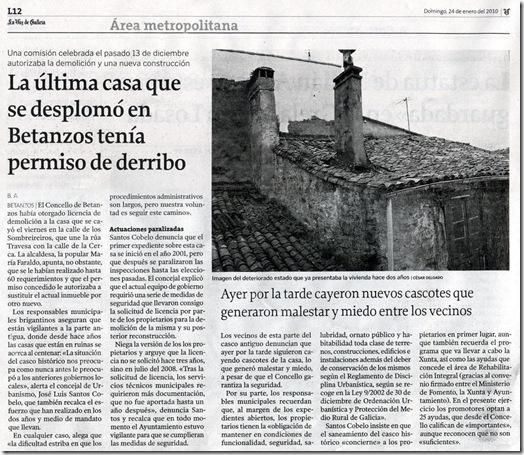 """Recorte do  xornal """"La Voz de Galicia"""" correspondente ao domingo 24 de xaneiro de 2010."""