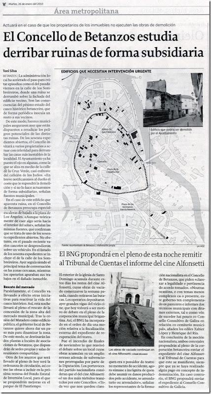 """Recorte do  xornal """"La Voz de Galicia"""" correspondente ao martes 26 de xaneiro de 2010."""
