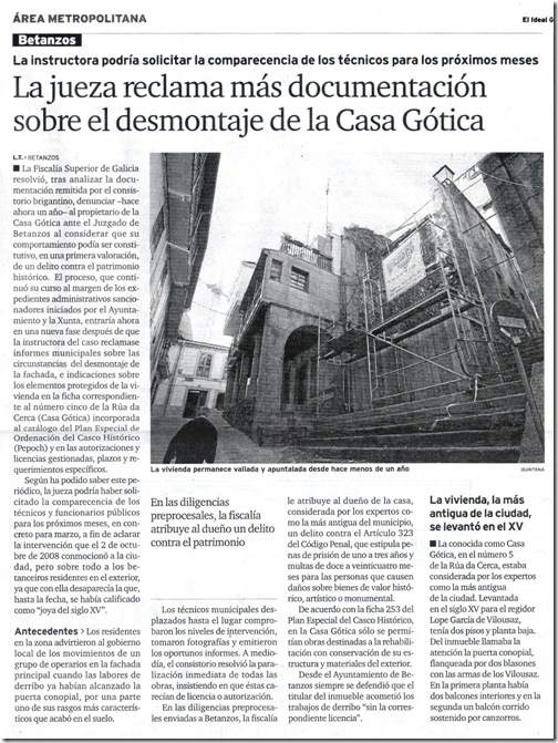 """Recorte do xornal """"El Ideal Gallego"""" correspondente ao martes 2 de febreiro de 2010"""