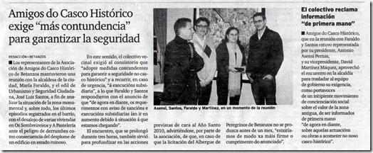 """Recorte do xornal """"El Ideal Gallego"""" correspondente ao xoves 11 de febreiro de 2010"""