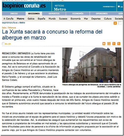 """Recorte da edición dixital do xornal  """"La Opinión"""" correspondente ao sábado 23 de xaneiro de 2010"""
