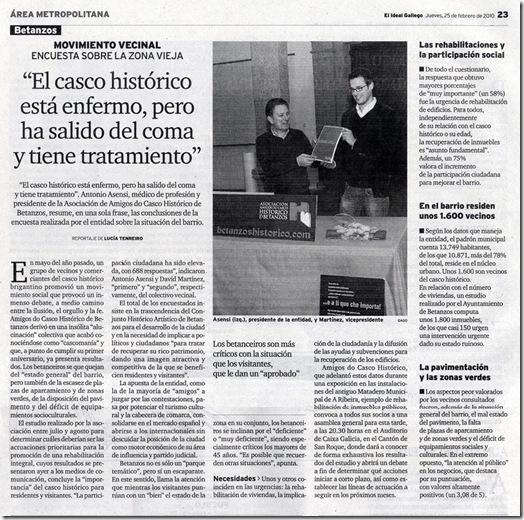 """Recorte do xornal """"El Ideal Gallego"""" correspondente ao xoves 25 de febreiro de 2010"""