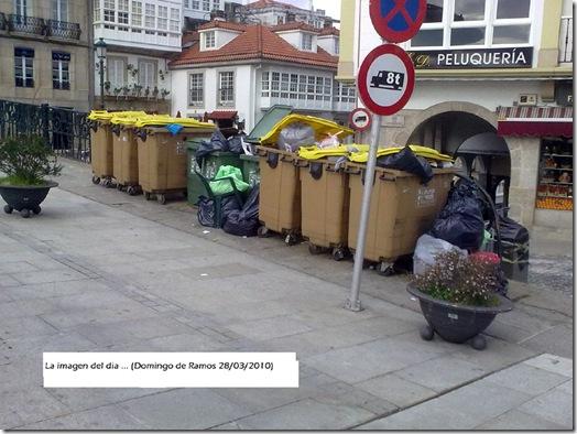 Colectores de lixo en Betanzos o Domingo de Ramos
