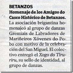 """Recorte do xornal """"La Voz de Galicia"""" correspondente ao mércores día 14 de outubro de 2009"""