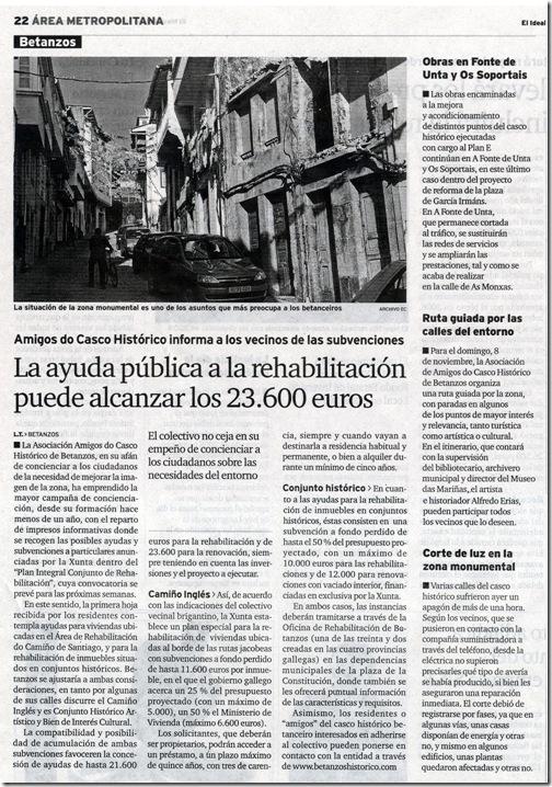 """Recorte do xornal """"El Ideal Gallego"""" na súa edición do martes 3 de novembro 2009"""