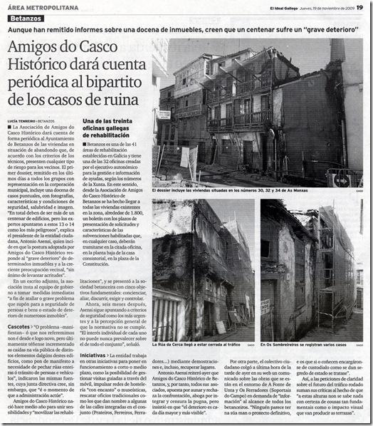 """Recorte do xornal """"El Ideal Gallego"""" correspondente ao xoves 19 de novembro de 2009"""